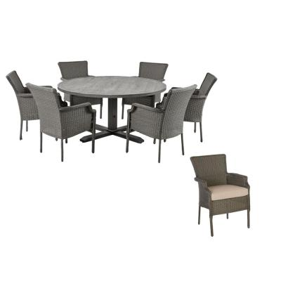 Grayson 7-Piece Ash Gray Wicker Outdoor Patio Dining Set with CushionGuard Putty Tan Cushions