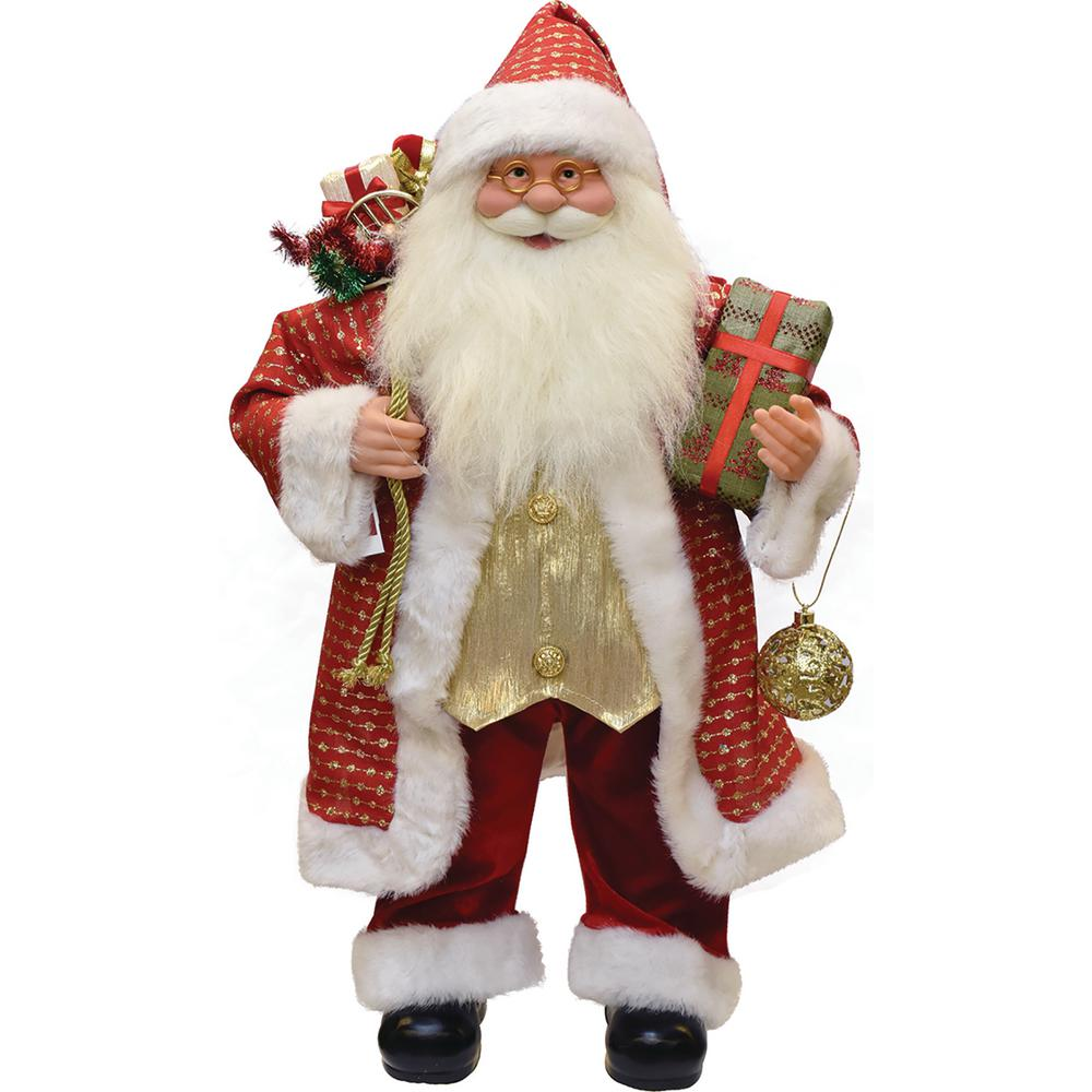 Northlight 24.5 in. Snazzy Standing Santa Claus Christmas Figure with Ornament and Gifts 24.5 in. Snazzy Standing Santa Claus Christmas Figure with Ornament and Gifts. Snazzy Sharp Dressed Santa. This modern take on Santa is sure to add pizzazz to your Christmas decor. Donning a red coat and had with gold embellishments red velvet pants all trimmed in white fur and shiny gold vest. Equipped with a sack full of gifts and holding a present and gold cut-out ball ornament. Gold wired glasses complete Santa's garb. Dimensions: 24.5 in. H x 12.25 in. W x 7.25 in. D. Material(s): plastic/fabric/faux fur.