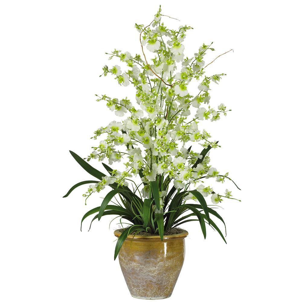 32 in. Triple Dancing Lady Silk Flower Arrangement in Green