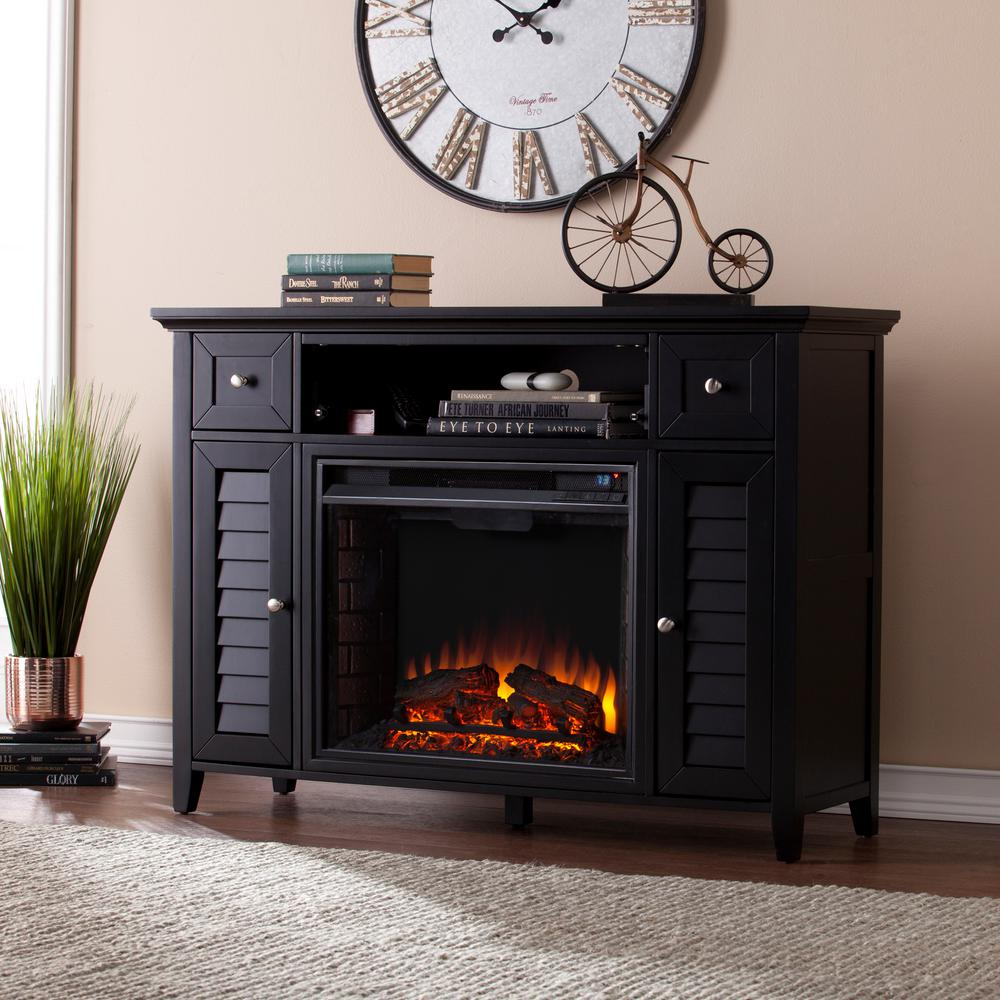 Media Fireplace Console Black Black Kennison Entertainment Furniture