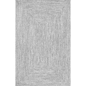 Lefebvre Casual Braided Salt & Pepper 9 ft. x 12 ft. Indoor/Outdoor Area Rug