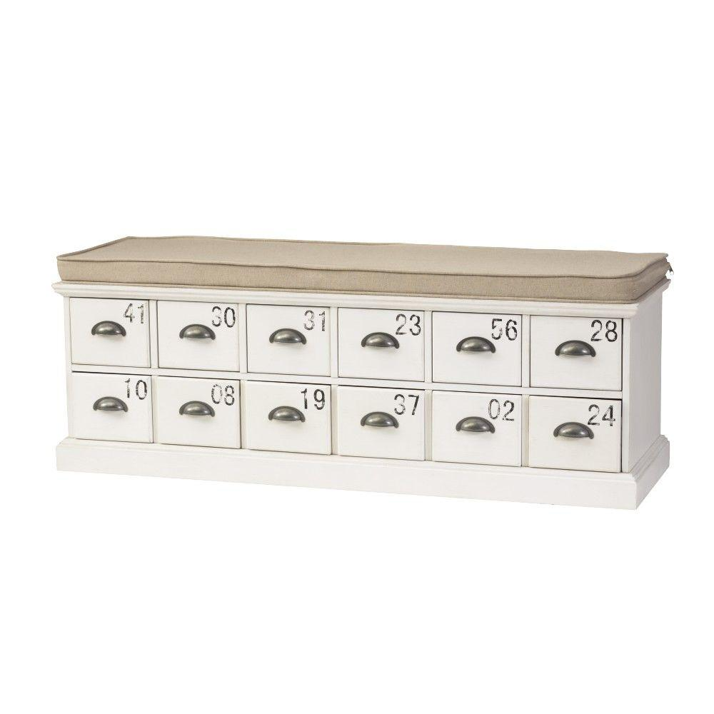 Home Decorators Collection Corollary 12-Drawers Antique White Shoe Storage Bench