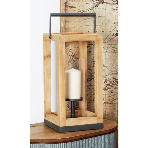 Litton Lane Brown Candle Lantern with Gray Accents 89263