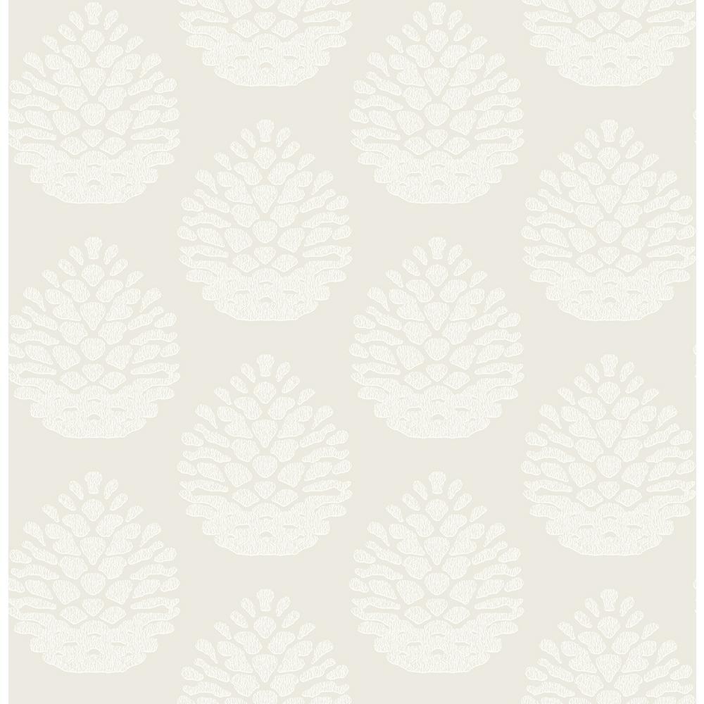8 in. x 10 in. Totem Eggshell Pinecone Wallpaper Sample