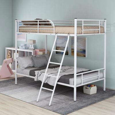 White Finish Solid Twin Over Twin Metal Bunk Bed