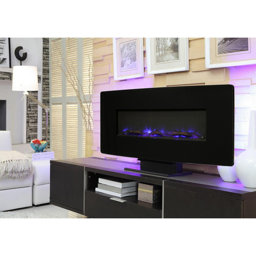 muskoka 36 in glass curved front wall mount electric fireplace in