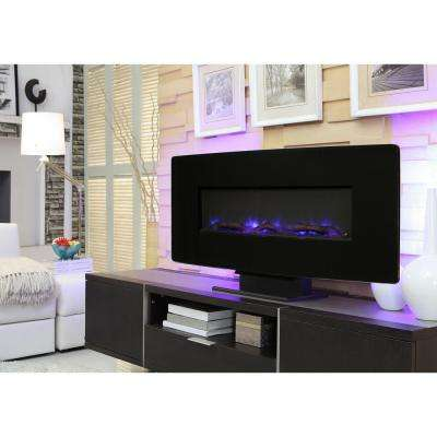 36 in. Glass Curved Front Wall-Mount Electric Fireplace in Black