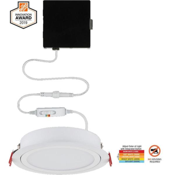 Slim Directional 6 in. Color Selectable New Construction and Remodel Canless Recessed Integrated LED Kit