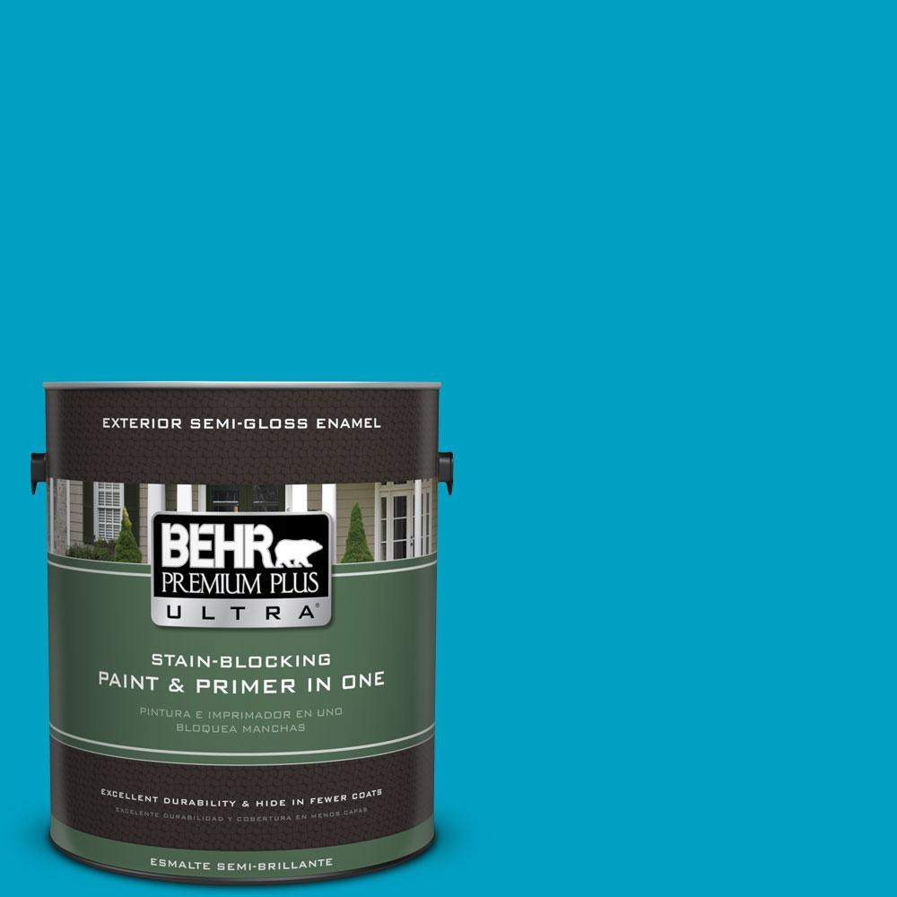 BEHR Premium Plus Ultra 1-gal. #530B-6 Tropical Holiday Semi-Gloss Enamel Exterior Paint