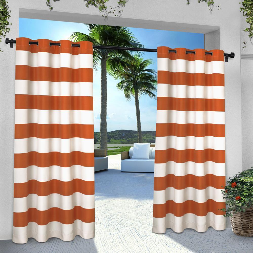 Indoor Outdoor Stripe 54 in. W x 96 in. L Grommet Top Curtain Panel in Mecca Orange (2 Panels)