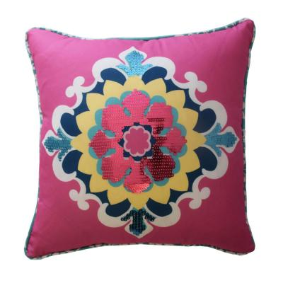 Bollywood Multicolored Floral Polyester 15 in. x 15 in. Throw Pillow