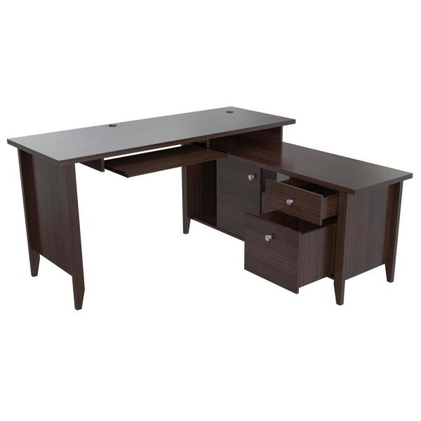 "Inval ""L"" Shaped Espresso Wengue Computer Writing Desk"