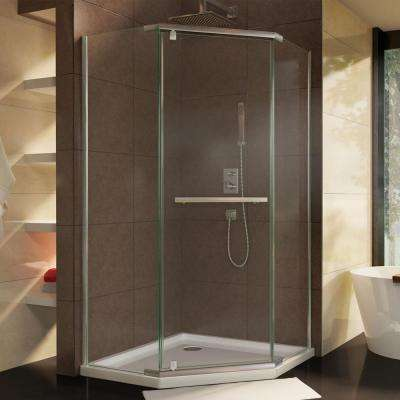 Prism 34-1/8 in. x 72 in. Semi-Frameless Corner Pivot Shower Enclosure in Brushed Nickel with Handle