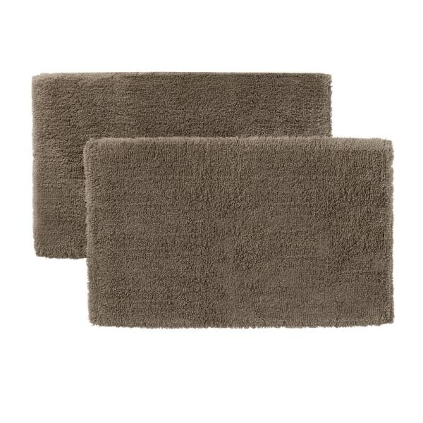 Fawn Brown 25 in x 40 in. Non-Skid Cotton Bath Rug (Set of 2)