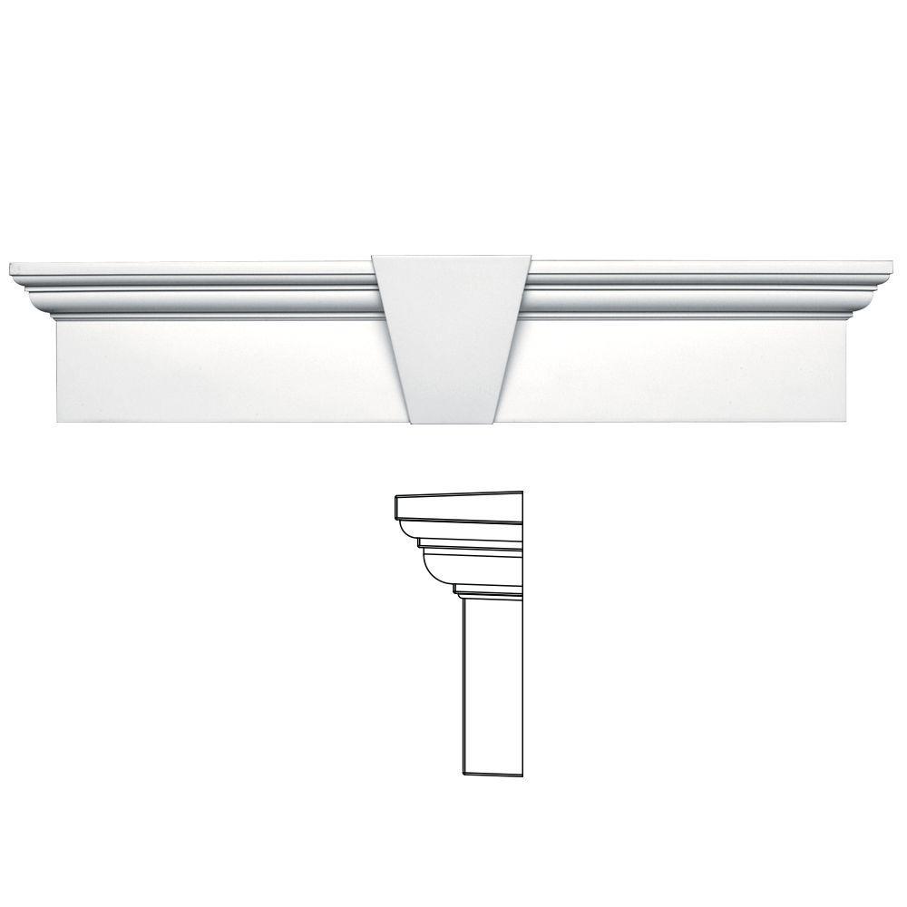 Builders Edge 9 in. x 43-5/8 in. Flat Panel Window Header with Keystone in 001 White