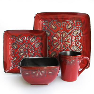 Marquee 16-Piece Red Dinner Set