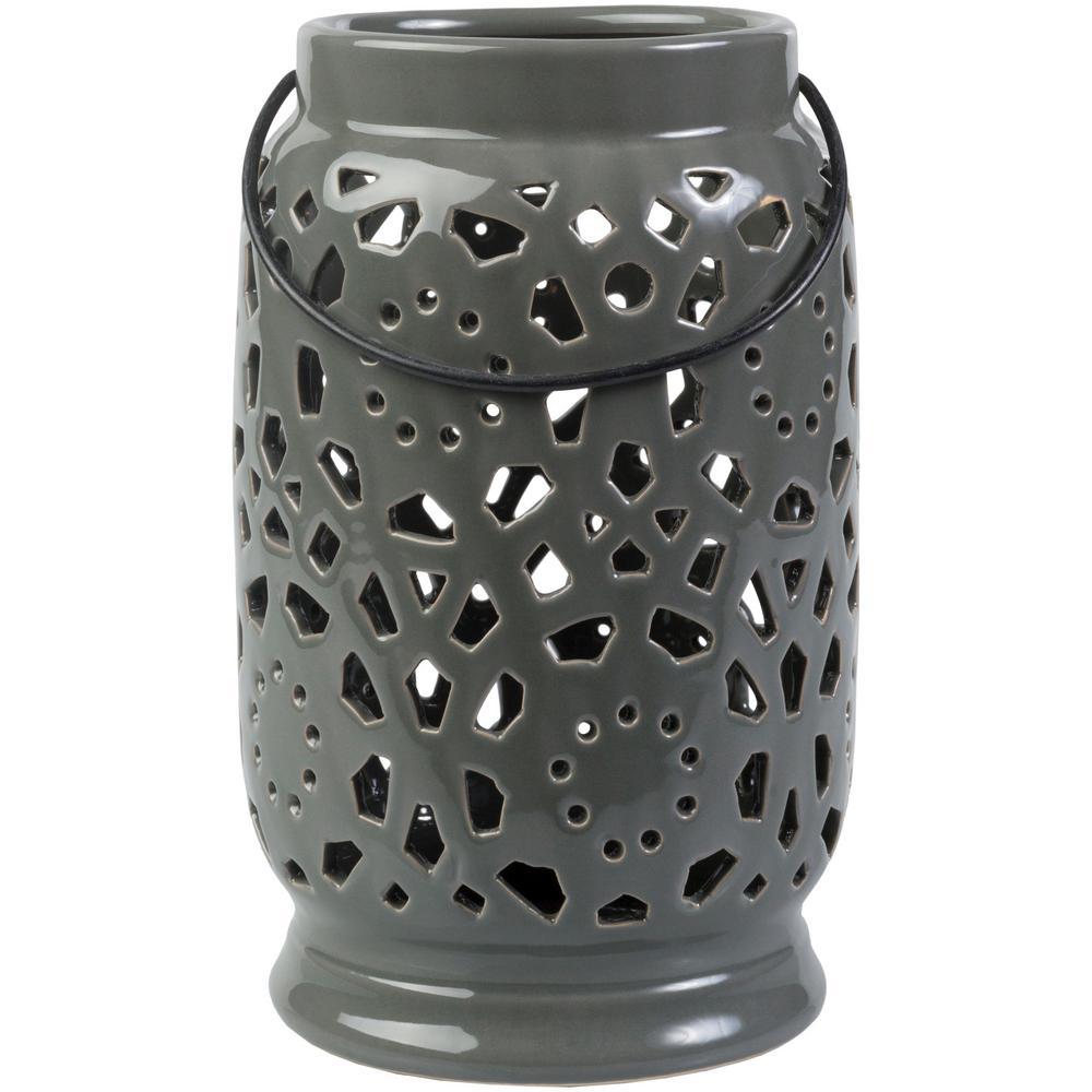 Kimba 9.4 in. Medium Gray Ceramic Lantern