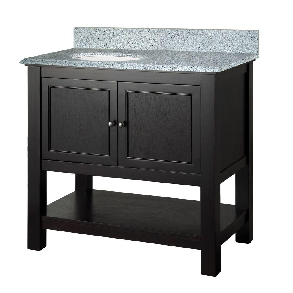 Foremost Gazette 37 in. W x 22 in. D Vanity in Espresso with Granite Vanity Top in Napoli with White Basin