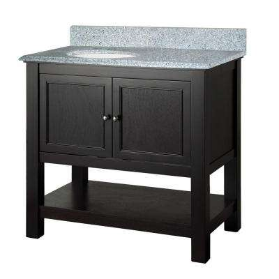 Gazette 37 in. W x 22 in. D Vanity in Espresso with Granite Vanity Top in Napoli with White Sink
