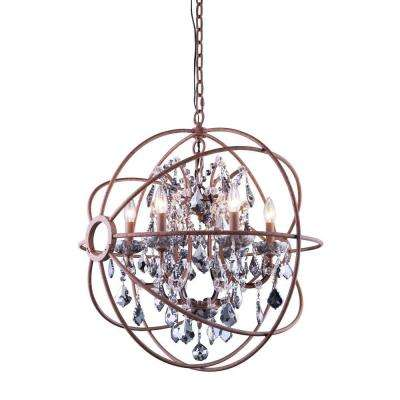 Geneva 6-Light Rustic Intent Chandelier with Silver Shade Grey Crystal