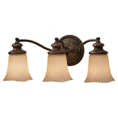 Emma 21.5 in. W 3-Light Grecian Bronze Bathroom Vanity Light with Cream Etched Glass Shade and Vintage Ornate Backplate