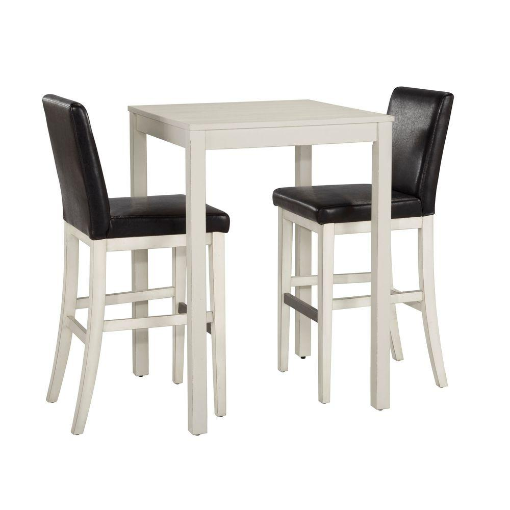Home Styles Nantucket 3-Piece White Wooden Bistro Table Set-DISCONTINUED