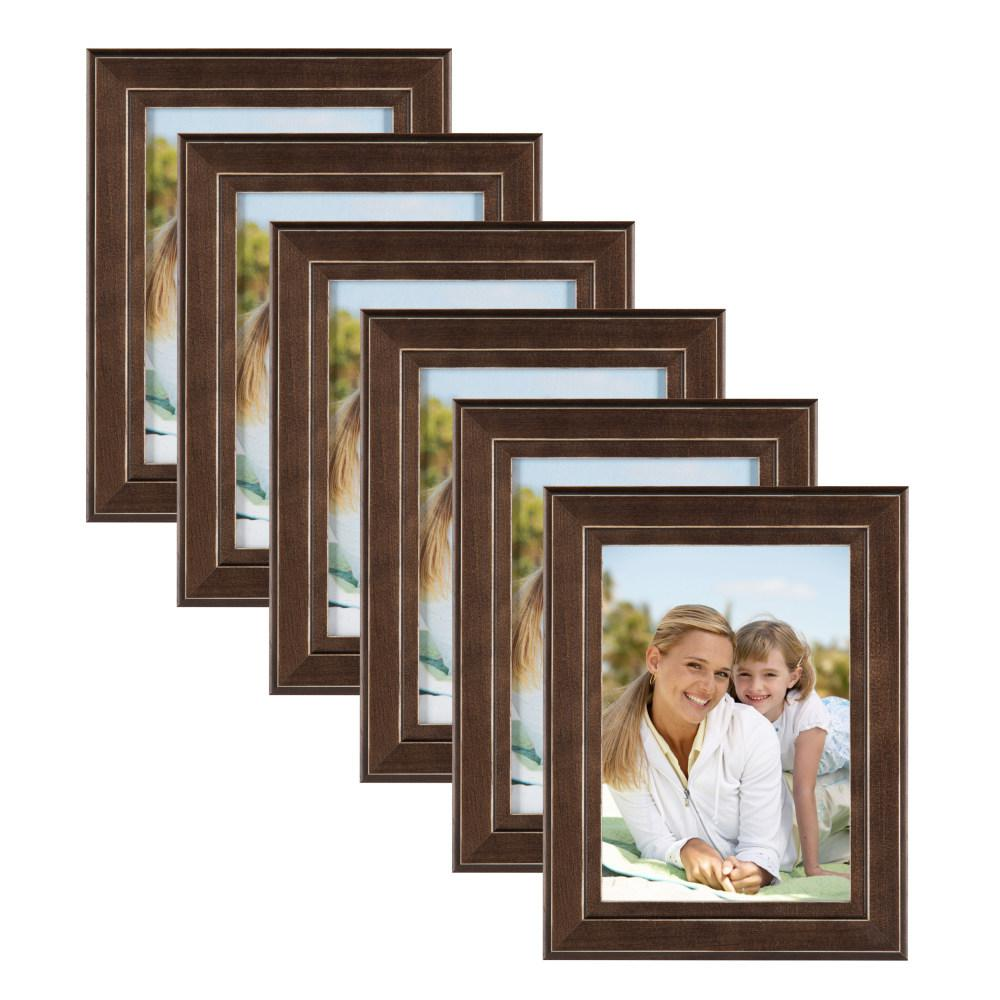 Designovation Kieva 5x7 Brown Picture Frame Set Of 6 211234 The