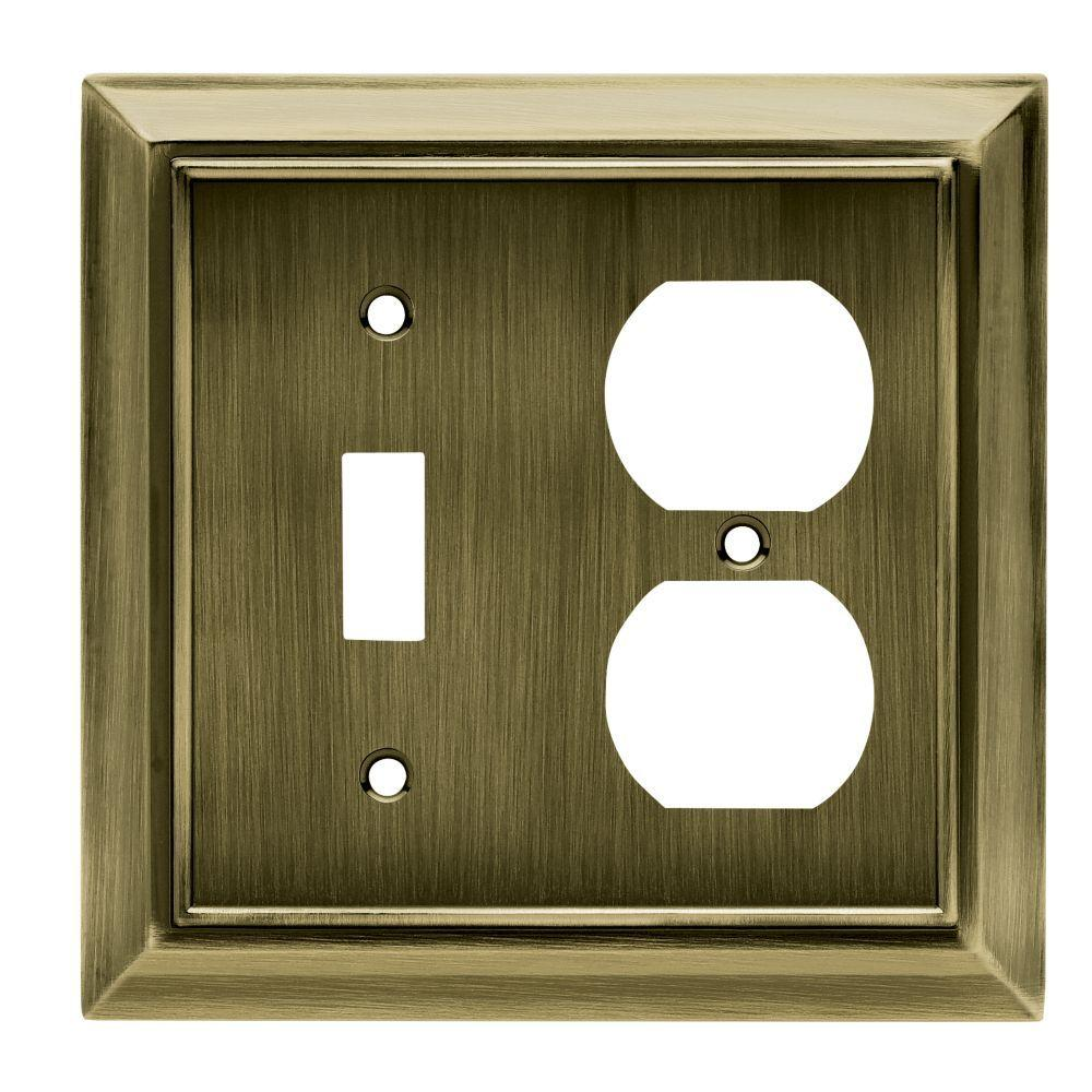 Hampton Bay Architectural Decorative Switch and Duplex Outlet Cover,  Antique Brass