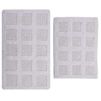 Square Honey Comb White 17 in. x 24 in. and 30 in. x 20 in. 2-Piece Reversible Bath Rug Set