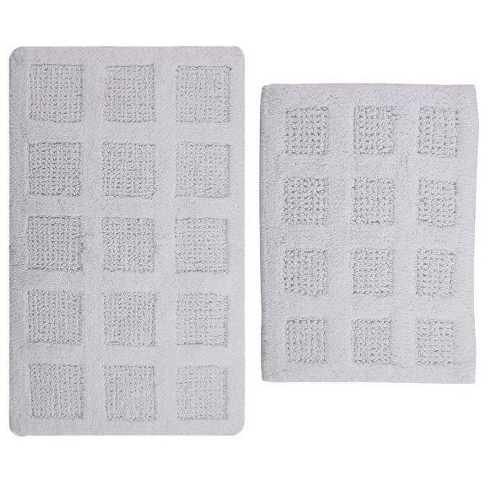 17 In. X 24 In. And White 21 In. X 34 In. Square Honey Comb Reversible Bath Rug Set (2 Piece)