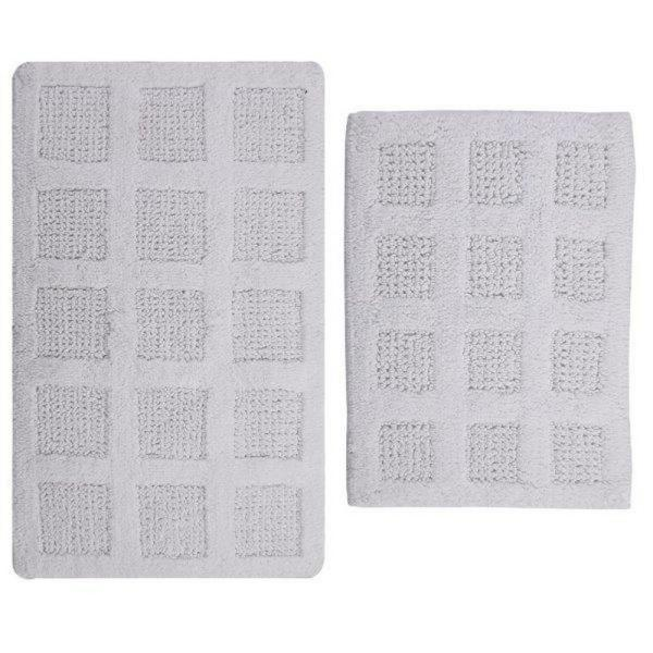 PERTHSHIRE 17 in. x 24 in. and White 21 in. x 34 in. Square Honey Comb Reversible Bath Rug Set (2-Piece)