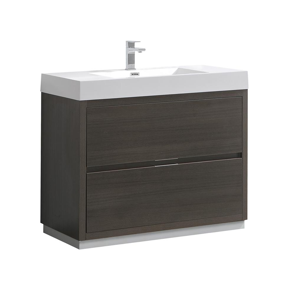 Fresca Valencia 40 in. W Bathroom Vanity in Gray Oak with Acrylic ...