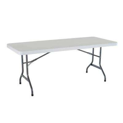 6 ft. Granite Folding Utility Table in White