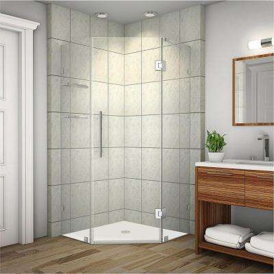 Neoscape GS 38 in. x 72 in. Frameless Neo-Angle Shower Enclosure in Stainless Steel with Glass Shelves