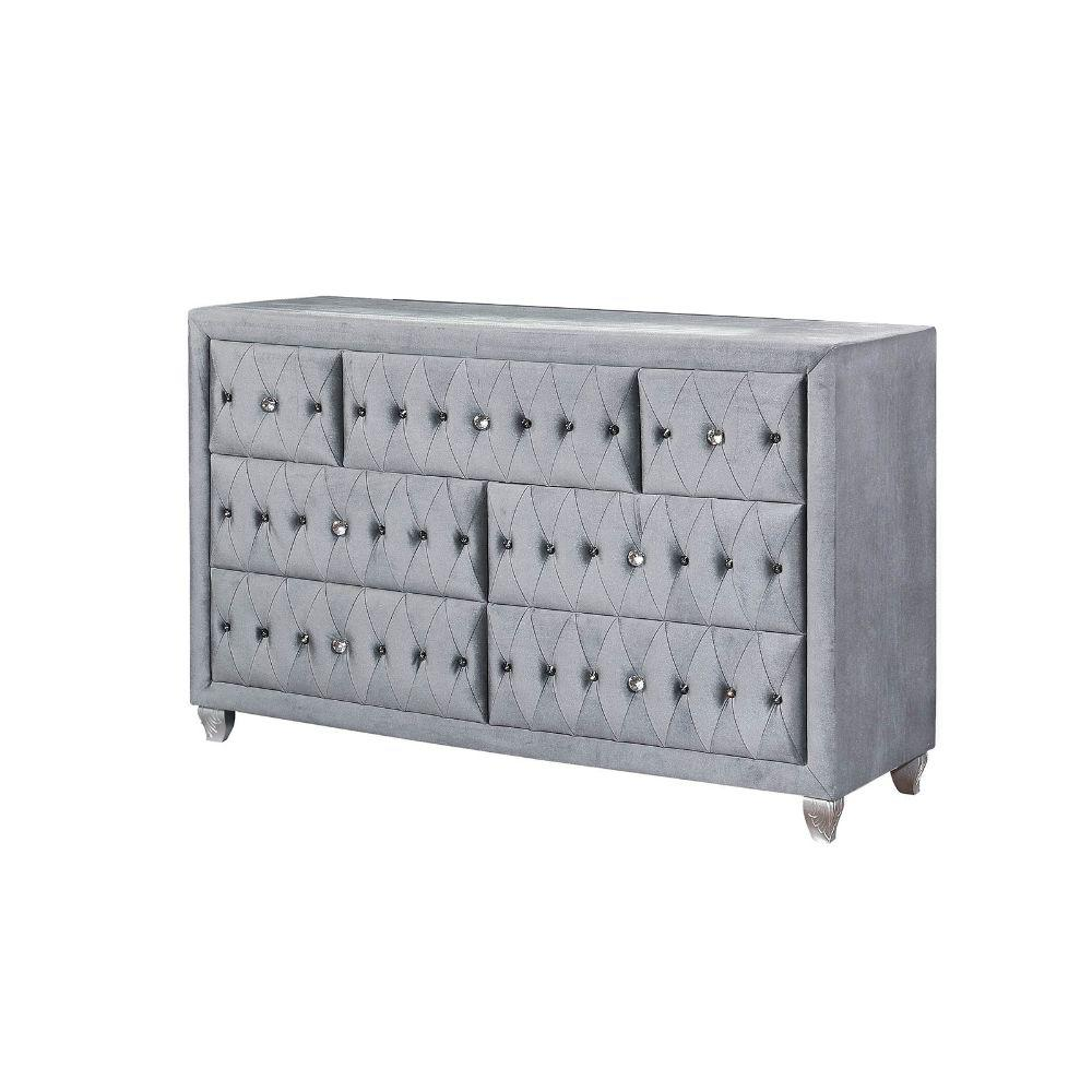 Benjara Drawer Gray Fabric Upholstered Wooden Dresser Tuftin Detail H 16522