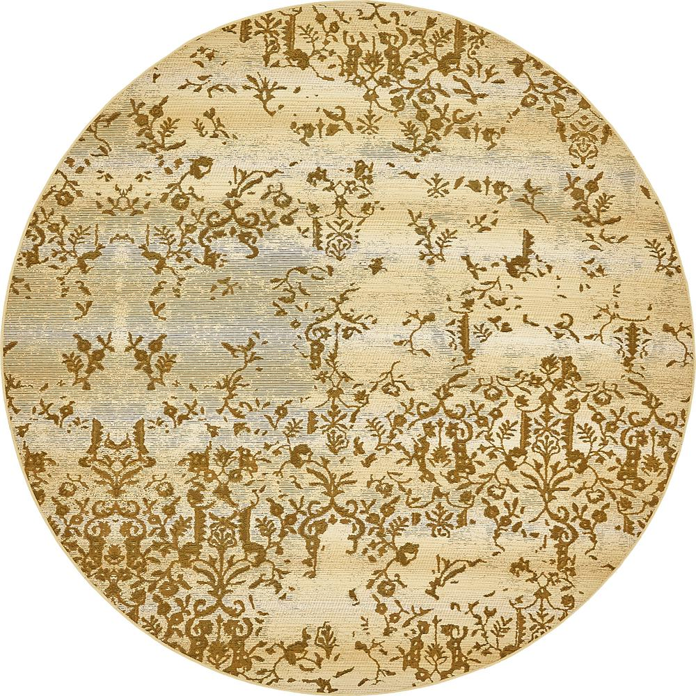 Outdoor Botanical Beige 8' x 8' Round Rug