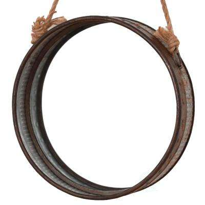 Galvanized Metal Round Faux Rust Framed Wall Mirror with Rope