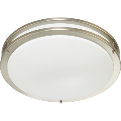 Large 1-Light Brushed Nickel LED Indoor/Outdoor Bath/Vanity Ceiling Flush Mount/Wall Sconce - White Round Circle Lens
