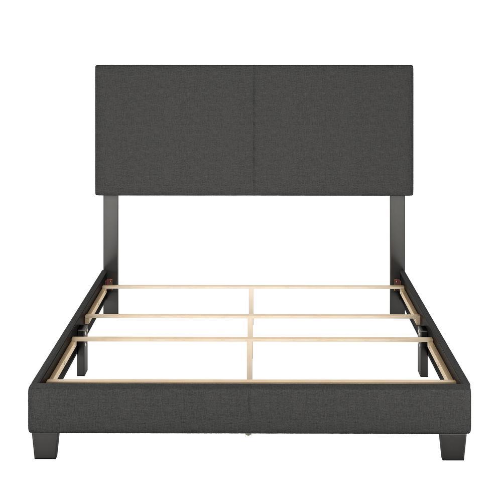 Barrett Twin Charcoal Linen Upholstered Platform Bed