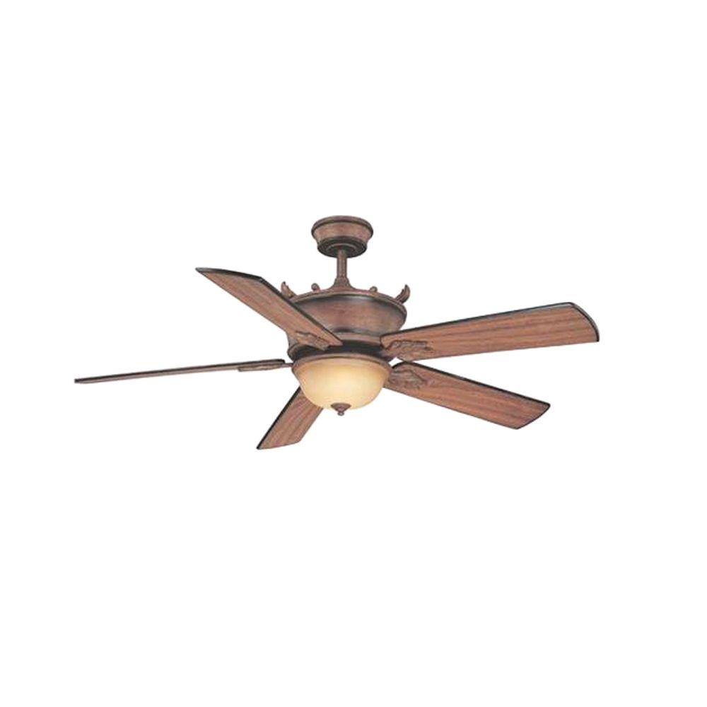 Cordelia Lighting Colmar Collection 54 in. Hanging Venetian Bronze Gold Ceiling Fan with Distressed Walnut Blades Fans
