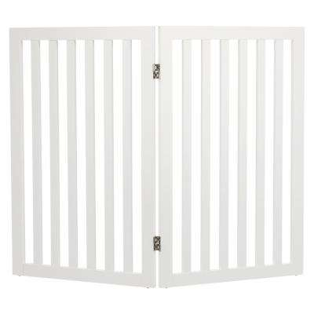 White Pet Gate Wooden 2-Panel Pet Gate Extension