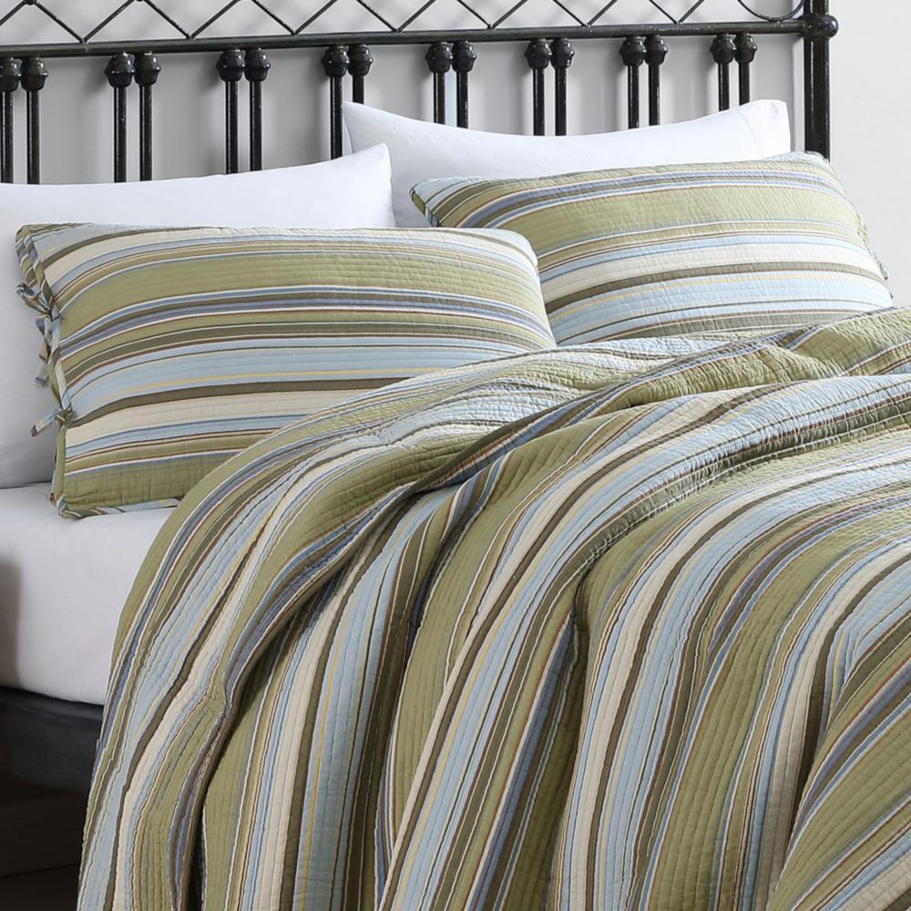 Fresno Striped Cotton Quilt Set