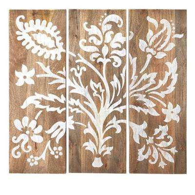 40 in. H x 14 in. W Grey Faria Wood Wall Panel (Set of 3)