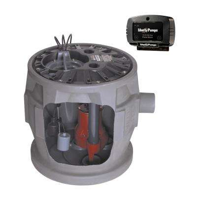 Pro380 Series 4/10 HP Submersible Pre-Assembled Simplex Sewage System with LE41 Pump, Polyethylene Basin, and Alarm