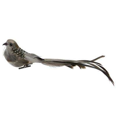 9.5 in. Brown and Grey Clip-On Bird Feather Christmas Ornament Decoration