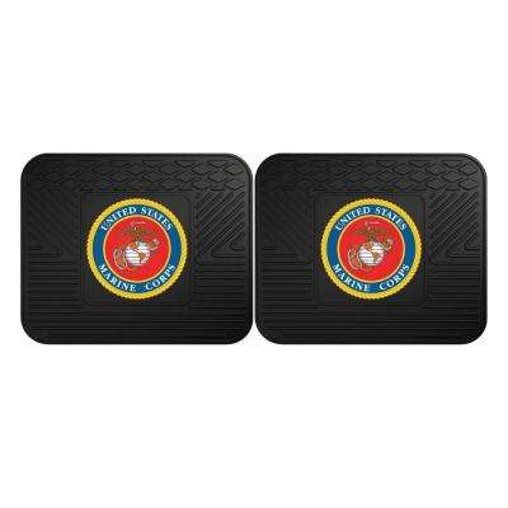 Marines Black Heavy Duty 14 in. x 17 in. 2-Piece Vinyl Utility Mat