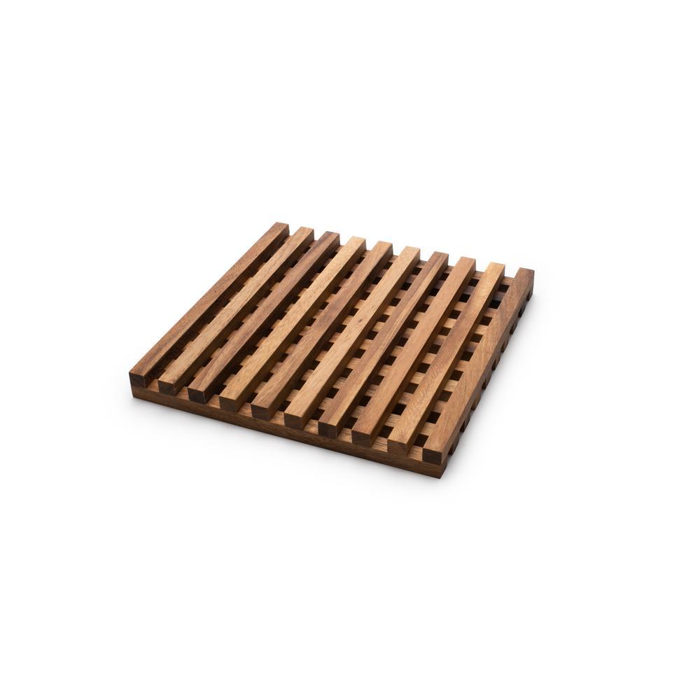 9 in. x 9 in. Square Wood Acacia Trivet Cutting Board