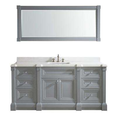 Avenue 72 in. W x 23 in. D Vanity in Oxford Gray with Engineered Solid Vanity Top in White with White Basin and Mirror