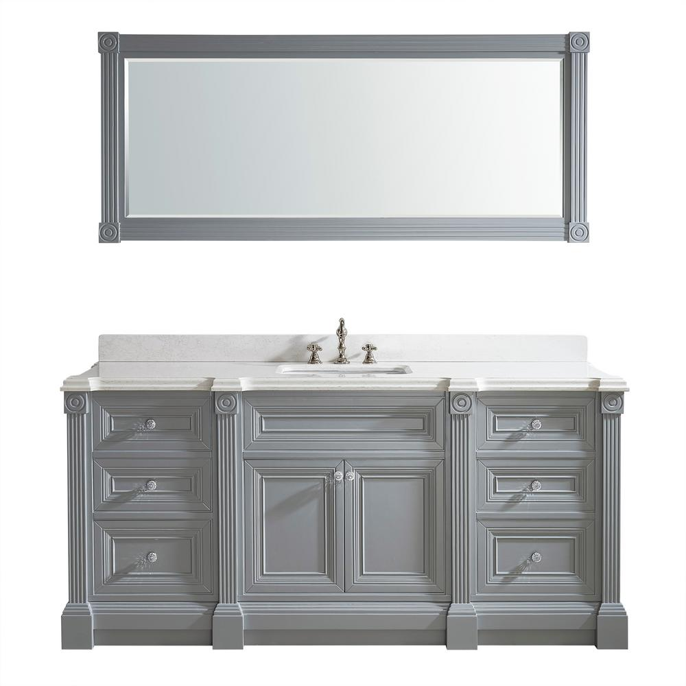 Studio Bathe Vanity Gray Engineered Solid Vanity Top White Basin Mirror