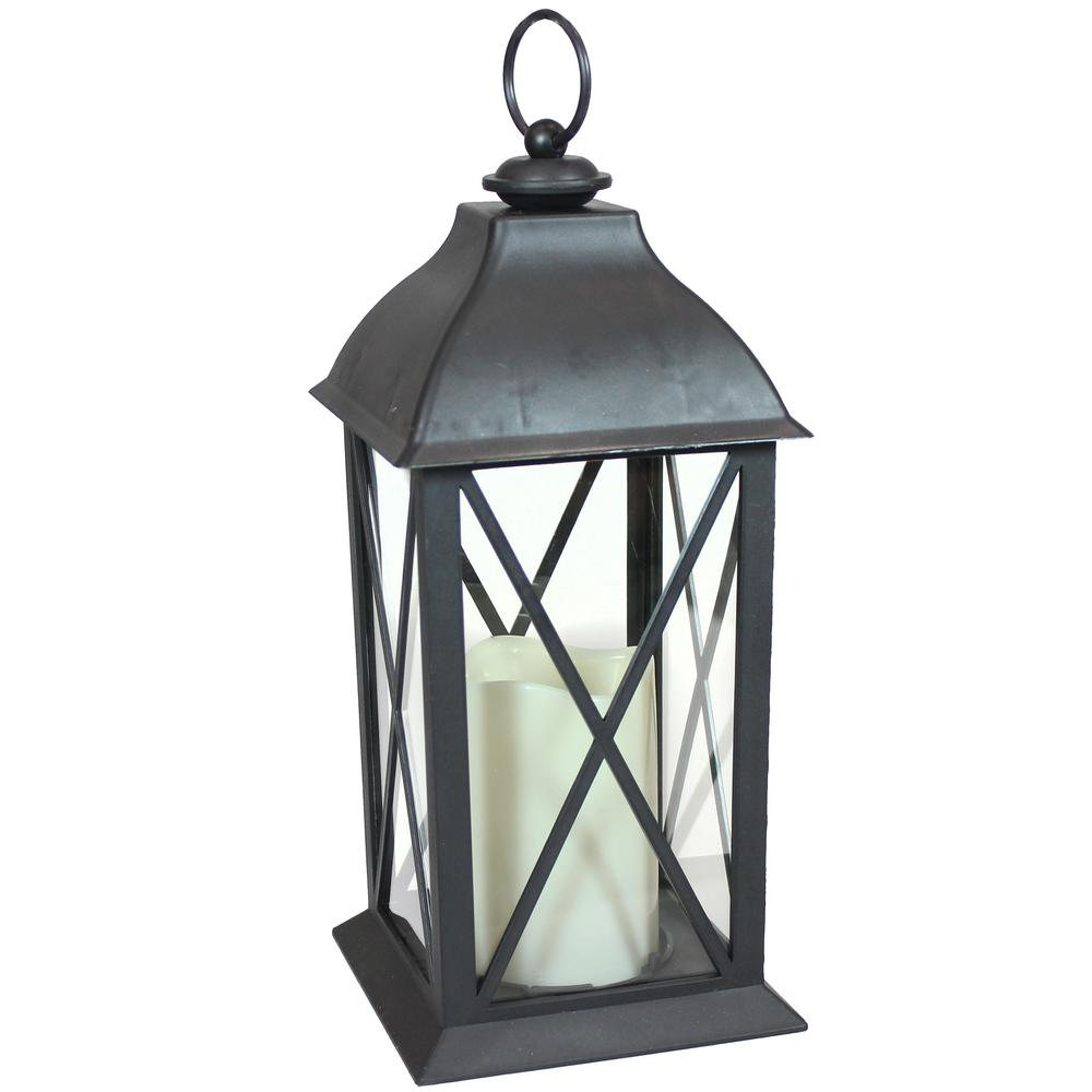 Lexington Black Battery-Powered LED Candle Lantern - 10 in.
